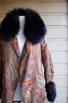 1920s Gold Lame Opera Coat Fox Trim Collar  by RevivalVintageATX, $1000.00