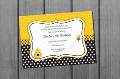 Bumble Bee Birthday Invitation and FREE Thank You Card Printables $10
