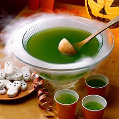 Brew-ha-ha punch  Flavors of pineapple, lime, and ginger ale make up this fun and spooky beverage. For a scary presentation, place punch bowl into a larger bowl, and add dry ice to larger bowl.