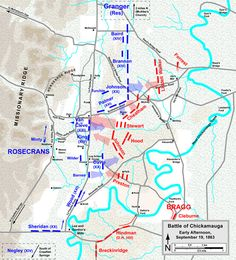 "Sept. 23, 1863: James's division, led by Major General Jefferson C. Davis, marched across the La Fayette road and fought the Confederate forces on the other side. The thick blue arrow with Davis's name, in the center of this map, shows the movement. ""Map of the Battle of Chickamauga, early afternoon September 19, 1863"" Map by Hal Jespersen, www.posix.com/CW, December 11, 2008."