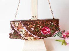 Vintage Evening Bag, Brown Bead Clutch, Beaded Handbag, Brown Evening Purse, Brown Clutch Bag, Glamorous Purse EB-0338