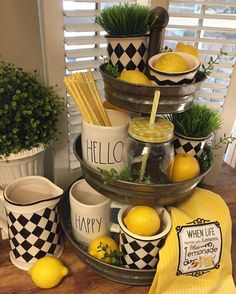 I was tagged by a couple sweet friends to post for so I'm reposting this one from a few weeks… Galvanized Tiered Tray, Lemon Kitchen Decor, Tray Styling, Tiered Stand, Tray Decor, Happy Tuesday, Home Decor Accessories, Seasonal Decor, Vignettes