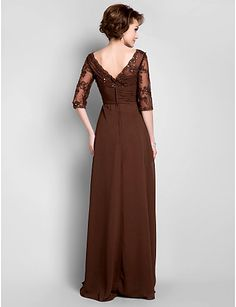 A-line Plus Sizes Mother of the Bride Dress - Chocolate Floor-length Half Sleeve Chiffon/Lace – USD $ 99.99