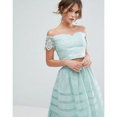 Chi Chi London Crop Top In Panelled Lace ($54) ❤ liked on Polyvore featuring tops, green, green top, green off shoulder top, green crop top, lace top and cropped tops