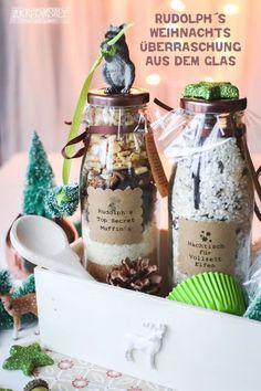 nicht nur zu Weihnachten ... einmal die Muffins Überraschungs Backmischung und eine Milchreis-Elfen-Mischung im Glas to Go