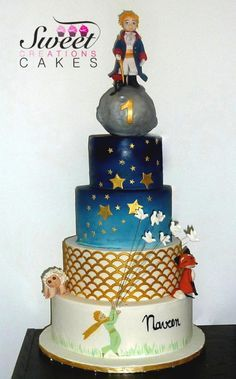 """""""Le Petit Prince"""" themed cake - Cake by Sweet Creations Cakes Little Prince Party, Little Man Party, The Little Prince, Royal Cakes, Baby Boy Cakes, Cakes For Boys, Beautiful Cakes, Amazing Cakes, Prince Cake"""