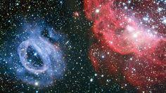 Ein merkwürdiges Paar im All: Die Gaswolken NGC 2014 (r.) und NGC 2020 sind Teil der Großen Magellanschen Wolke, einer Nachbargalaxie unserer Milchstraße. Quelle: AFP