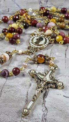 Pearl of Mary Gold Natural Colorful Mookaite Jasper Artisan Gemstone Rosary