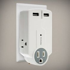FlyStone Handyman Portable Surge Protector - 3 AC outlets + 2 USB Charging Ports with Foldable AC Plug - Add Additional Outlets and USB Ports While Protecting Your Devices - USB Includes Amp Output to Charge Apple iPad / iPhone or Android phone/ Tablet Galaxy Tab S, Galaxy Note, Samsung Galaxy, Nexus 10, Ipad Mini 3, Computer Accessories, Plugs, Charger, Cool Things To Buy
