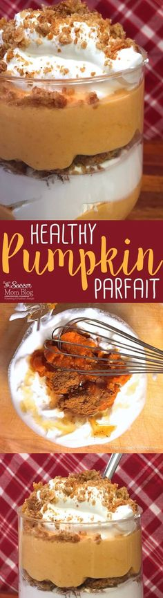 Tastes like pumpkin pie in a glass...and it's good for you! This Greek Yogurt Pumpkin Parfait recipe is high in protein, calcium, and whole grains! A luscious (and healthy!) snack or dessert perfect for Fall and Thanksgiving.