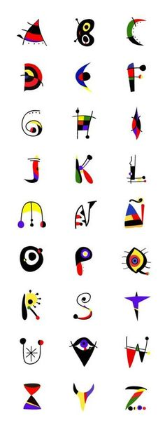 JOAN MIRÓ alphabet - lesson idea - have student design an alphabet inspired by their favorite artists. Typography Fonts, Hand Lettering, Typography Served, Graffiti, Alphabet Art, Font Styles Alphabet, Art Plastique, Elementary Art, Teaching Art
