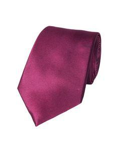 Men's Plain Plum Ottoman 100% Silk Tie