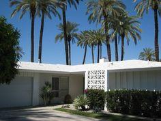 Mid-Century Home in Rancho Mirage, California. Vertical wood screen, plus breeze blocks