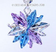 091046d70 m/w Swarovski Crystal Violet, Aquamarine, and Lily Clear Logo Octagons Star  Starburst Suncatcher Car Charm Ornament Lilli Heart Designs