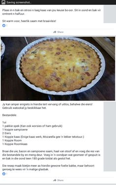 Quiche Recipes, Tart Recipes, Low Carb Recipes, Cooking Recipes, Savoury Baking, Healthy Baking, Quick Meals For Kids, Braai Recipes, Kos