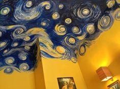 Van Gogh's Starry Night, ceiling - Zimmereinrichtung Ceiling Painting, Ceiling Art, Ceiling Paint Ideas, Painting Walls, Bedroom Ceiling, Bathroom Ceilings, Ceiling Paint Design, Tapestry Ceiling, Mirror Painting