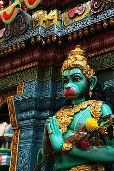 This monkey god hanuman our family god in India. Temples, Shri Hanuman, Krishna, Hanuman Wallpaper, Temple Architecture, Indian Temple, Monkey King, Indian Gods, South India