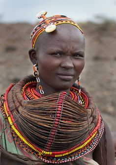 Africa | A wonderful example of a Mpooro Engorio necklace.  These necklaces are worn by Rendille and some Maasai women in northern Kenya