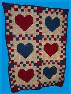 Country Hearts Crochet Quilt | AllFreeCrochetAfghanPatterns.com