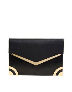 30d33bbe57d Enlarge New Look Metal Edge Mia Clutch Bag Tomboy Chic, Tomboy Fashion,  Gold Clutch