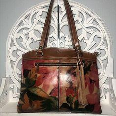 Patricia Nash Poppy Tote Spring Multi Leather $249 | eBay Crossbody Messenger Bag, Leather Backpack, Leather Bag, Spring Sandals, Patricia Nash, Brown Leather Totes, Embossed Logo, Vintage Handbags, Leather Tooling