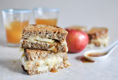 Caramel Apple Grilled Cheese Recipe Lunch and Snacks with multigrain bread, butter, brie cheese, apples, caramels