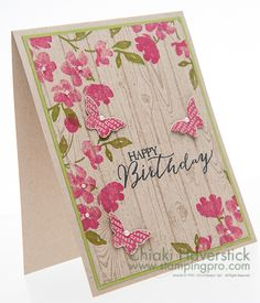 "SU ""Painted Petals"", ""Butterfly Basics"" & ""Hardwood"" Stamp Sets. Melon Mambo & Old Olive inkpads. Crumb Cake cardstock & inkpad. Bitty Butterfly punch."