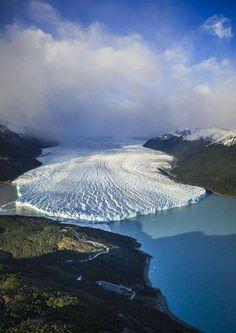 Aerial view of Glacier in rural landscape, The Perito Moreno Glacier, Los Glaciares National Park, El Calafate - Patagonia, Argentina ~ Places To Travel, Places To See, Travel Destinations, Beautiful World, Beautiful Places, Beautiful Scenery, Landscape Photography, Nature Photography, Aerial Photography