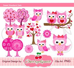 Sweet Owls Digital Clipart Set for-Personal and Commercial Use-paper crafts,card making,scrapbooking,web design.