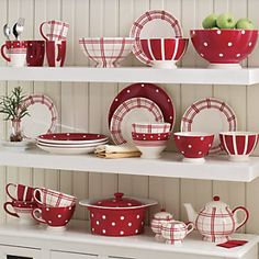 These dishes just make me smile. In the Tiny House kitchen, I'll have very limited storage space, but I'm not so attached anymore to the Corelle that I've had for over 30 years. And these dishes I could display, because that kitchen will be partially red!