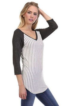 e0646a97a4049 Women Casual Pin Striped Solid V-Neck 3 4 Sleeve Tunic Baseball Tee Shirt  Raglan Top