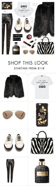 """""""Winter Street Style"""" by ames-ym ❤ liked on Polyvore featuring House of Fluff, Dolce&Gabbana, Burberry, Tommy Hilfiger, Valentino, leatherpants, fauxfur and hoodiecoat"""