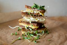 Leek, goat and edam cheese grilled sandwich. Lucky me I just bought all these ingredients at the farmers market on sat. I am going to be making this. can't wait!!!