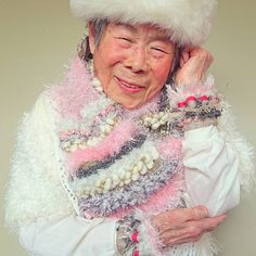 Artist Chinami Moriweaves delightfully colorful creations, her cheerful 93-year-old grandmother models them