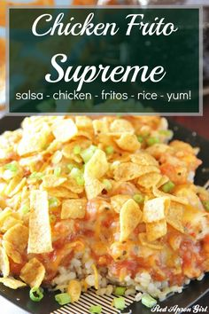 Chicken Frito Supreme, an amazing quick dinner. especially if you forgot to plan dinner Easy Chicken Dinner Recipes, Entree Recipes, Mexican Food Recipes, Cooking Recipes, Easy Eat, Quick Easy Meals, Great Recipes, Favorite Recipes, Salsa Chicken