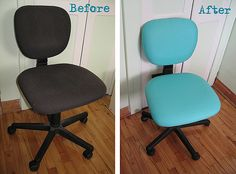 How to reupholster a desk chair.  Oh, my ugly desk chair is going to be pretty!