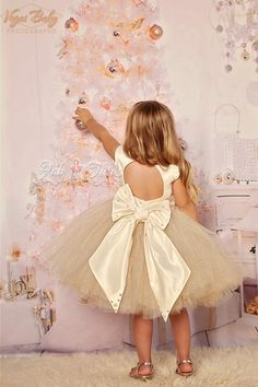 "Ivory gold glitter tulle flower girl tutu dress - ""April"" dress in ivory gold"