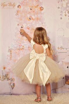 """Ivory gold glitter tulle flower girl tutu dress - """"April"""" dress in ivory gold"""