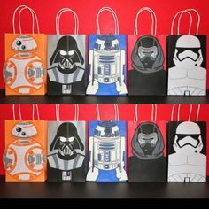 Printable Star Wars R2D2/ BB8/ Stormtrooper Darth Vader/ Kylo Ren Favor/ Goodie/ Goody/ Candy/ Treat/ Loot bags/ bag. Purchase all these 5 bag template for just $8 @ my Etsy Shop!! And print as many as you need! ☺ Star wars birthday party. Fiesta Star Wars. Star wars party ideas/ stormtrooper/ Darth Vader costume. Star wars cake/ cupcakes toppers/ Star wars labels/ tags/ favors. Star wars lego party/ toys. Star wars birthday banner/ backdrop/ piñata/ balloons/ invite/ invitation…