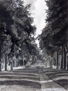 Landscape charcoal drawings charcoal landscape by aikotakada traditional ar Tree Drawings Pencil, Landscape Pencil Drawings, Chalk Drawings, Graphite Drawings, Watercolor Landscape, Art Drawings, Drawing Designs, Easy Hair Drawings, Amazing Drawings