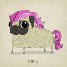 Pug art print dog illustration limited edition by agrapedesign Pugs, Pug Illustration, Pug Mops, Pug Art, Unique Poster, Silly Dogs, Ink Pen Drawings, My Little Pony, Dogs And Puppies