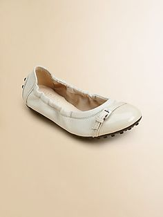 Don't forget your tiny dancer - #Tod's Girl's Leather #Buckle Ballerina Flats.