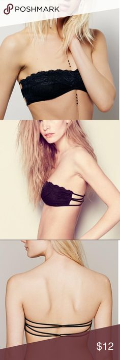 NWT Free People Essential Lace Bralette, XS NWT Free People Essentials Black Lace Bralette. Stretchy black lace bandeau bra with center rusched detail and strappy back. Brand new with tag. Size: XS Free People Intimates & Sleepwear Bandeaus
