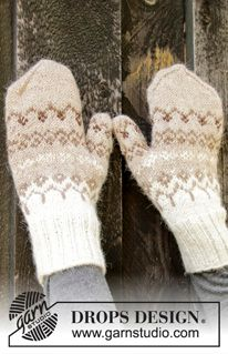 Knitted mittens with Nordic pattern in DROPS Alpaca. Knitted Headband Free Pattern, Mittens Pattern, Knit Mittens, Crochet Pattern, Winter Knitting Patterns, Free Knitting, Drops Design, Drops Alpaca, Alpacas