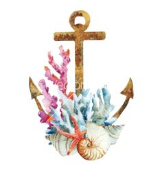 Anchor with corals vector on VectorStock