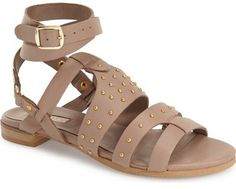Chick gladiator sandals with gold studs. Topshop 'Flame' Stud Wraparound Ankle Strap Sandal (Women)