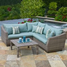 4-Piece Catalina Indoor/Outdoor Sectional Set in Bliss Blue