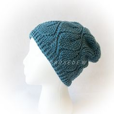 Now here's a nice thick beanie perfect for cold weather. This hat consists of lots of texture. Leaves drape down from the crown to the ribbing and appear as though they are embossed! This is very much like the knitted version, but this is completely crocheted! The added texture creates a very stretchy crochet fabric. The hat will hug your head!