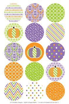 Purple Orange Green Digital Bottle Cap Images – Erin Bradley/Ink Obsession Designs