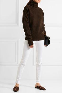 White stretch-denim  Button and concealed zip fastening at front 90% cotton, 8% polyester, 2% elastane Machine wash